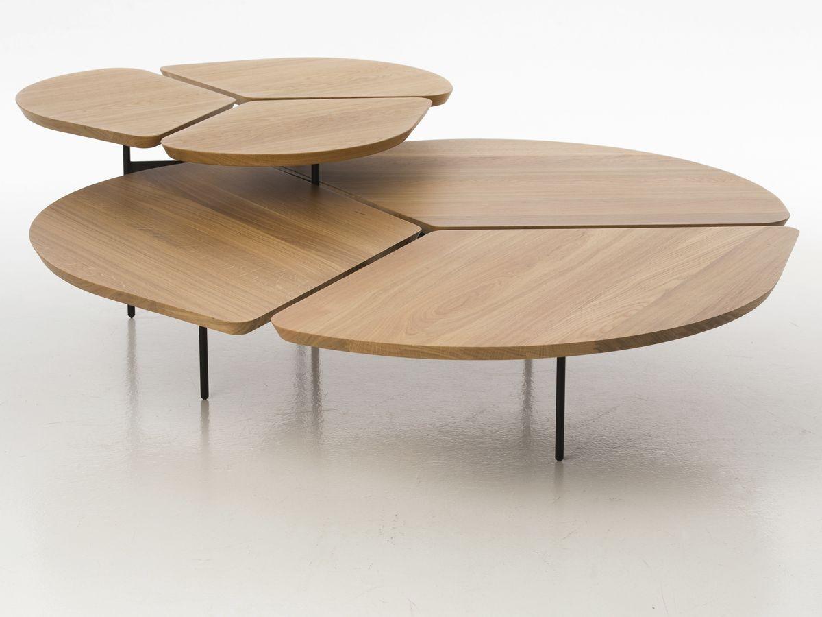 שולחן סלוני פרחים מעץ אלון